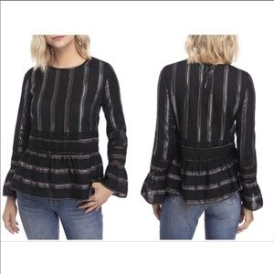 Crown & Ivy Silver Metallic Stripe Bell Sleeve Top